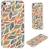 iPhone SE 2020 Case,iPhone 8 Case,iPhone 7 Case,VoMotec Shockproof Soft Rubber Full Body Protective Thin Phone Cover Cases Girly for iPhone SE 2020/7/ 8/ SE2,Orange Black Blue Feather Wave Decorative