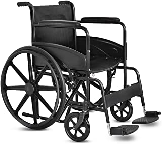 """Giantex Folding Medical Wheelchair Manual, 20`` Seat, Large 23"""" Durable Rubber Wheel Smart Brakes 8"""" Casters, Pocket on Back, Swing Away Footrest, Desk-Length Arms, FDA Approved Transport Wheelchairs"""