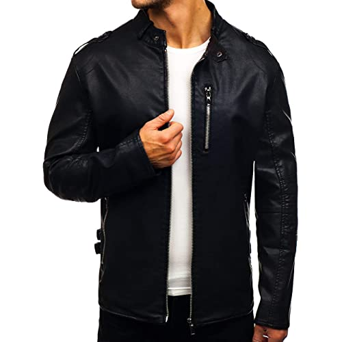 63630dac80b4 BOLF Men s Jacket Faux Leather Casual Zip Mix ...