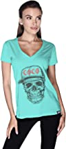 Creo Black Red Coco Skull T-Shirt For Women - Xl