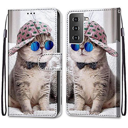 Nadoli Handyhülle Leder für Samsung Galaxy S30 Plus,Bunt Bemalt Brille Katze Trageschlaufe Kartenfach Magnet Ständer Schutzhülle Brieftasche Ledertasche Tasche Etui