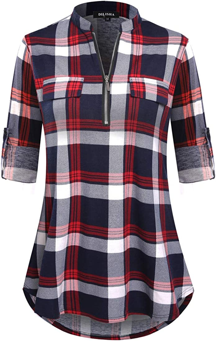 DILISHA Women's Plaid Baltimore Mall Shirt 3 4 Roll Zipper Cas Sleeve V New item Neck Up
