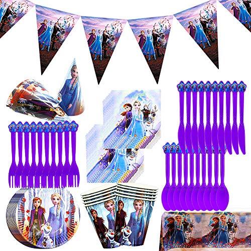 Conjunto para Fiesta,JPYH 68Pcs Vajilla Fiesta Decoración Cumpleaños Vajilla, Plato, Servilleta de Papel, Cuchillo, Tenedor, Taza, Mantel, Bandera para Letras,Vajilla de Fiesta