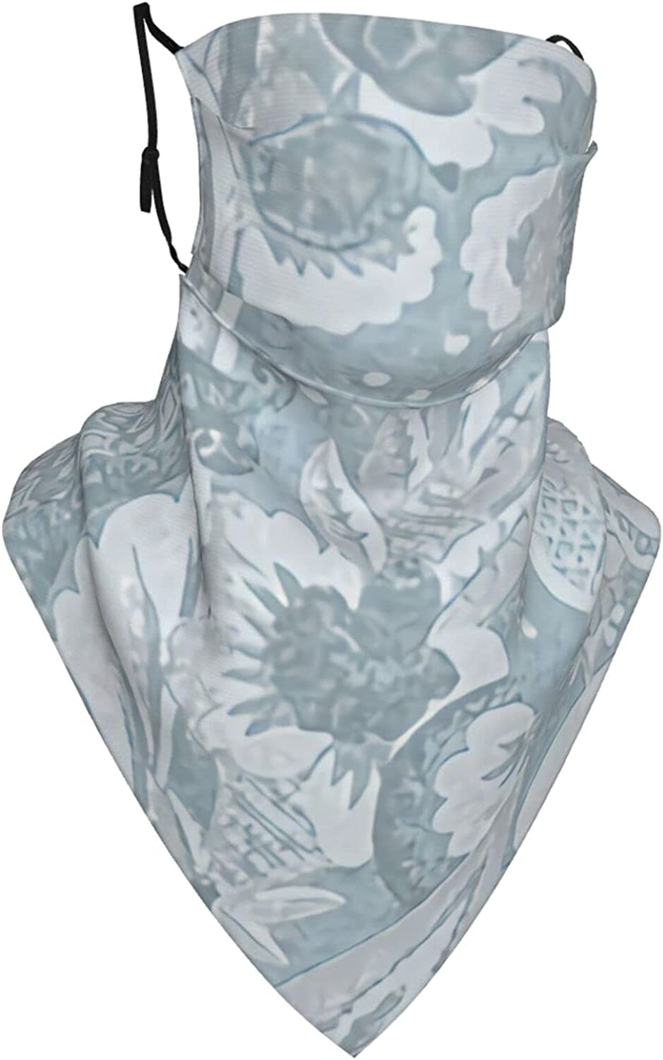 Jacobean Floral Lace - Blue Face Mask Sun Protection Ear Loops Neck Gaiter Scarf for Outdoor with 0 Filter