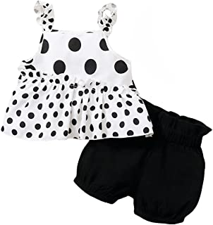 Toddler Girls Clothes Baby Girl Outfits 12M-4T Polka Dot Cami Tank Top Solid Color Short Pants Summer Kids Clothing Sets