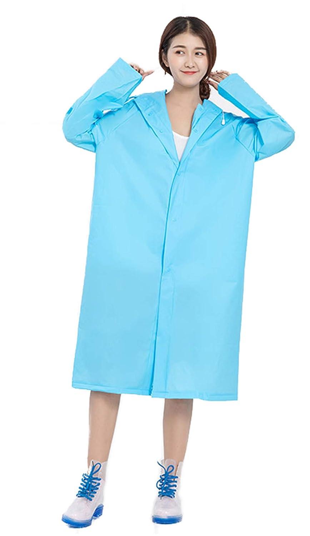 Zsbgレディースレインウェア 無地 四季 梅雨 PU防水コーティング エコのEVA 匂いなし カッパ バイザー 防水 合羽 アウトドア バイザー 通勤 通学 シンプル レインスーツ リュック対応 (L, ブルー)