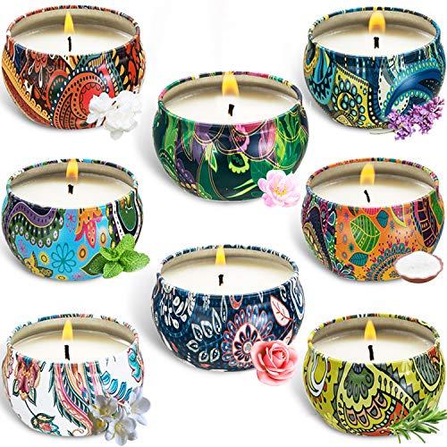 BEYAOBN Aroma Kerzen,Duftkerzen Set,8pcs SojaWachs Kerze Geschenk Set,Aromatherapie-Kerzen,Duftkerze Natürliches Aromen von Rose Zitrone Labendel für Weihnachten,Geburtstag,Valentinstag