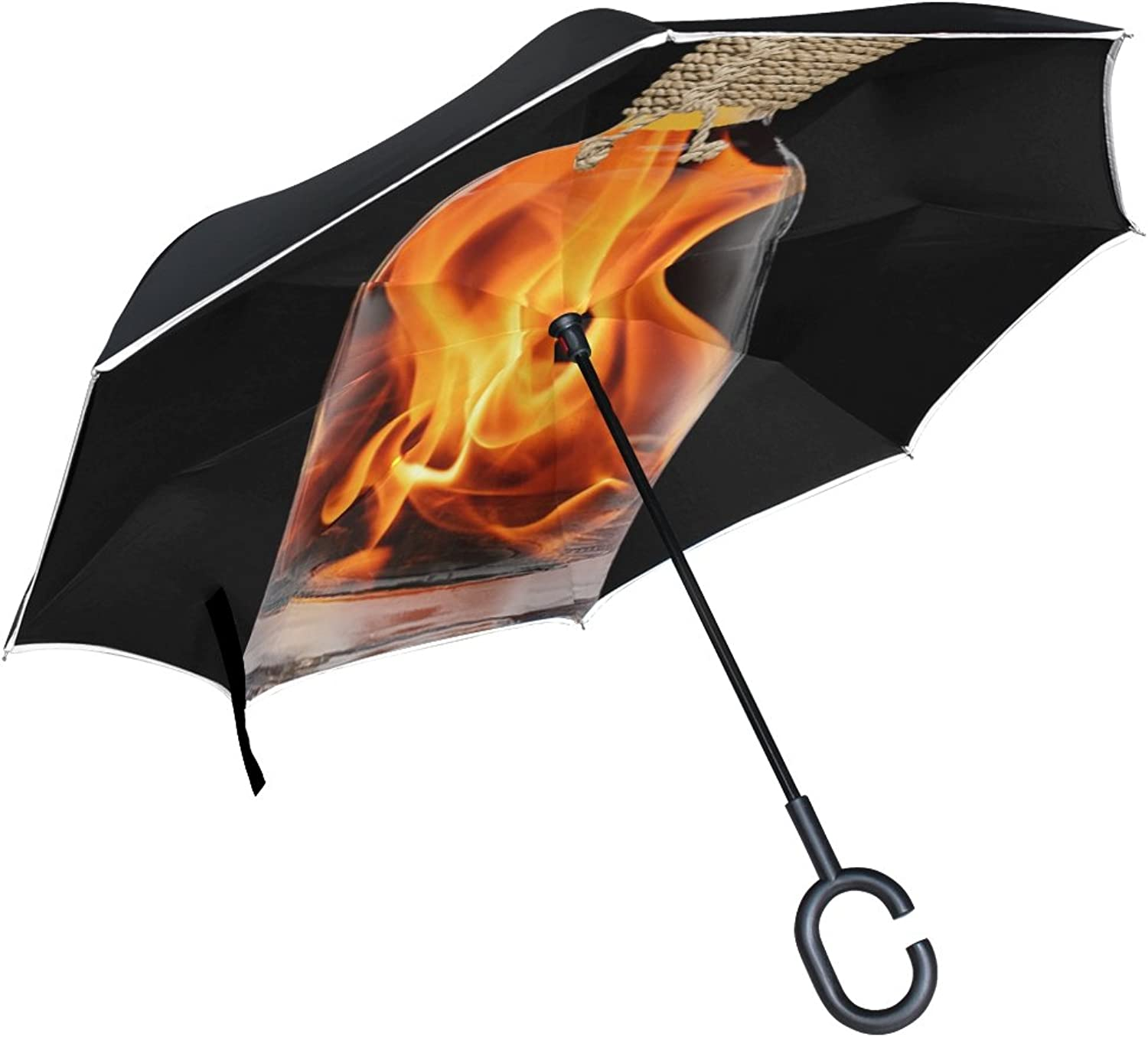Double Layer Ingreened Flame Embers Bottle Fiery Fire Hot Burn Campfire Umbrellas Reverse Folding Umbrella Windproof Uv Predection Big Straight Umbrella for Car Rain Outdoor with CShaped Handle