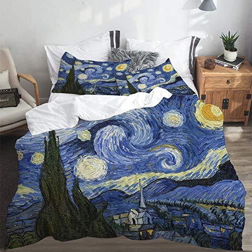 LASINSU Funda De Edredón,Noche Estrellada Van Gogh Pintura Al óleo,3 Pcs Ropa de Cama Funda Nórdica Sábana Bajera (140 * 200CM)