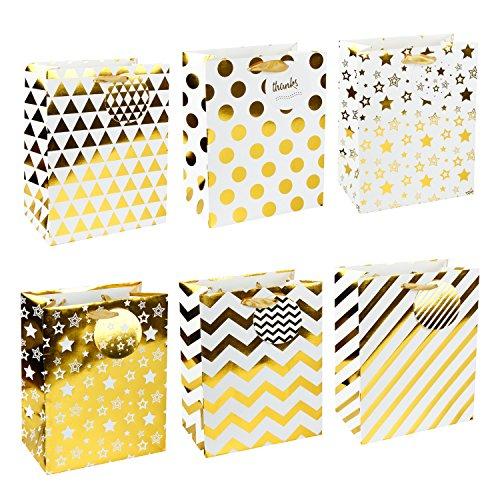 "LaRibbons Medium Silver Gift Bags - Polka Dot, Stripes, Chevron, Stars, Triangle - Gift Bag for Wedding, Birthday, Baby Shower, Party Favors, Christmas - 12 Pack - 8"" x 4.75"" x 10"""