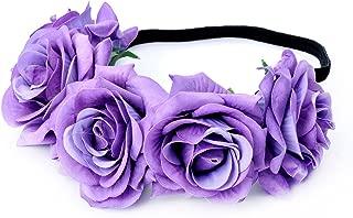 Tvoip Rose Floral Crown Garland Flower Headband Headpiece for Wedding Festival (Light Purple)