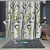 Stoff Dekor Duschvorhang 3D Badezimmer Duschvorhang (Bambus, 180 x 200 cm)