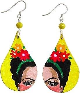 Orecchini dipinti a mano – FRIDA, I LOVE YOU! - Orecchini pendenti da donna, Gioielli in legno dipinti a mano, Gancio in a...
