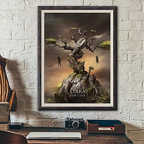 impresiones y carteles Impresiones para paredes Monstruo de dibujos animados Libra Póster Constelación de cuento de hadas oscuro Impresiones de fantasía gótica Decoración del hogar 20x30cm sin marco