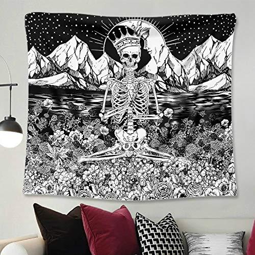 Satan Tarot Card Black Cat Tapiz Hippie Moon Wolf Brujería Decoración Tapiz Pared Manta Tela de fondo a2 130x150cm
