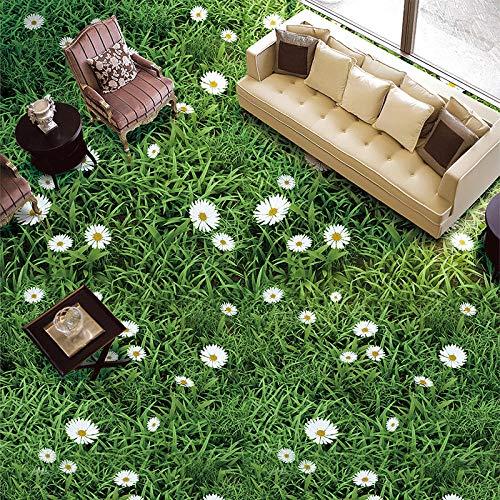 Mural autoadhesivo personalizado para suelo, planta pastoral, flores, hierba verde, baldosas 3D, papel tapiz, pegatina, baño, sala de estar, decoración-350 * 275cm