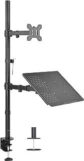 Vivo - Soporte Doble para 1 computadora portátil y 1 Monitor LCD, Soporte de sobremesa, Color Negro, Monitor + Laptop (Altura de pie)