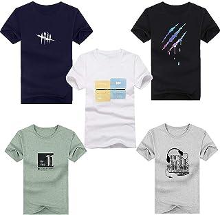 Hisitosa Tシャツ メンズ 半袖 夏 5点セット カジュアル トップス カットソー ファッション 肌着 無地 コットン 抗菌防臭 丸襟 柔らかい 快適