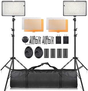 SAMTIAN【進化版】240LEDビデオライト照明キット78.74インチ/2M三脚 色温度3200/5600K 2*1200ルーメ バッテリー、充電器と電源アダプター付属(室内外で使う可能) YouTube、スタジオ撮影、ビデオ撮影用 キャリングケース付属