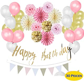 Pink, Gold, White, Princess Backdrop Decorations Supplies Paper Kits Happy Birthday Banner Party Decoration, Party Balloons, Paper Flowers Girls Birthday Party Supplies {30Pcs}