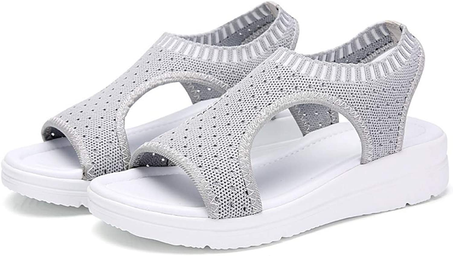 Hoxekle Woman's Summer Mesh Cloth Breathable Comfort Ladies Shopping Walking Platform Open Toe Sandals