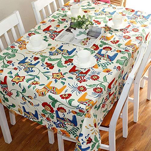Haoxp Eenvoudige stijl, veelzijdig voor binnen en buiten stofdichte tafelkleden, Cartoon katoen tuintafel doek koffietafel afdekking handdoek koffiehuis ronde tafelkleed - Trojan, 90 * 150cm