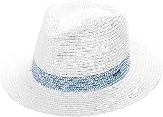 cd8ba97d0bb366 Unisex Packable Ribbon Band Straw Fedora Derby Panama Beach Sun Hat for  Womens Men 56-