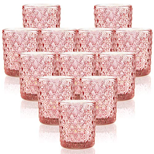 SHMILMH Rose Gold Tealight Candle Holders, Votive Candle Holder, Small Mercury Glass Votives for Wedding Table Centerpiece Baby Shower Birthday Decor Set of 12, Pink