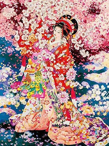GAGALAM Puzzle 1500 Piezas Adulto Cerezo En Flor Y Geisha.Adecuado para Sala De Estar Dormitorio Decoración De La Pared