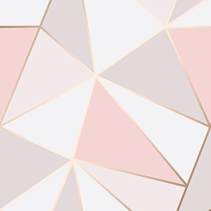 Fine Decor Apex Papier Peint Géométrique Doux Rose, Rose Du0027or (fd41993)
