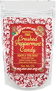 Crushed Peppermint Candy Pieces, 5 lb. by Unpretentious Baker, Crushed Candy Cane for Winter Baking, Treat Topping, Goodie Decorating, and Gift Giving. Gluten Free and Kosher.