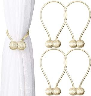 ZHOUBIN Magnetic Curtain Tiebacks Rope Curtain Holdbacks for Home/Office Window Sheer Drapes Tie Backs Holder (Beige, 4PCS)