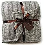 Cable Knit Sherpa Oversized Throw Reversible Blanket Faux Sheepskin Lined Cozy Cotton Blend Sweater Knitted Afghan in Grey White or Turquoise Blue (X-Large Grey)