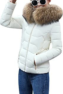 Women's Winter Down Cotton Coat Quilted Parka Jacket with Faux Fur Hood