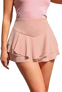 SweatyRocks Women's Casual Summer Short High Waist Layered Ruffle Skirt Shorts