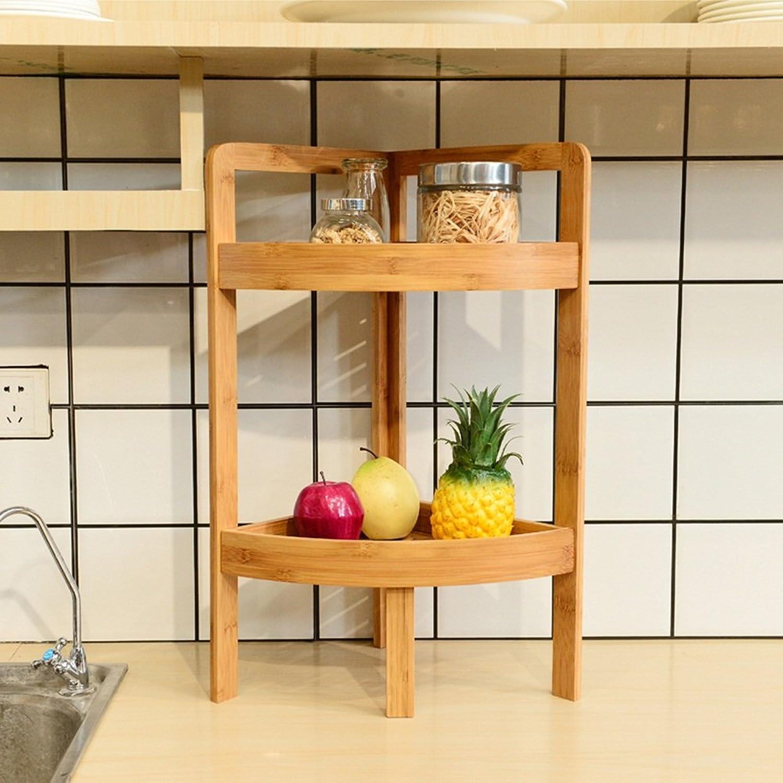 Multi-Functional Corner Shelf Solid Wood Storage Rack, Bathroom Storage Rack -by TIANTA (Size   Two Layers)