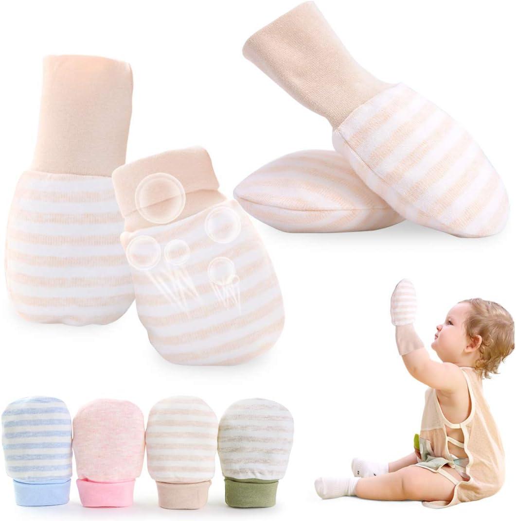 Kalevel No Scratch Baby Mittens Newborn Gloves Large Infant Boy Girl Cotton Mittens with Anti Slip Long Cuff 0-12 Months (2 Pairs, Brown Stripe)