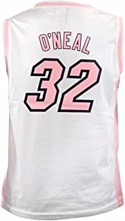 43b494aff02 adidas Shaquille O'Neal Miami Heat NBA White Official Fan Fashion Pink  Basketball Jersey for