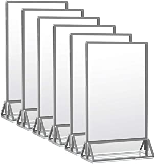 HIIMIEI Clear Acrylic Double Sided Frames 5x7 Wedding Table Numbers Holders Desk Menu Holders with Vertical Stand and 3mm Silver Border(6 Pack)