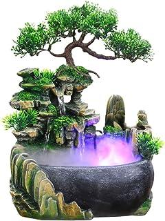 Ausla Fontaine d'intérieur, fontaine décorative d'intérieur et d'extérieur, fontaine Zen de table avec base légère, lumièr...