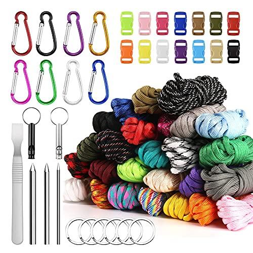 MeYuxg Paracord Set Multifunktion, Paracord 550 Nylonschnur 26 Farben, Paracord Schnüre für Kinder Erwachsene DIY Armband, Hundehalsband, Schlüsselanhänger, Anhänger