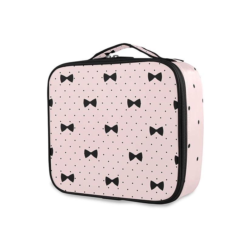 返還メロドラマ品Akiraki 化粧ポーチ メイクボックス 大容量 機能的 おしゃれ かわいい ピンク かわいい ドット ポーチ 小物入れ メイクポーチ 仕切り 仕分け 収納バッグ 収納ケース 化粧バッグ 旅行 出張 コンパクト 軽量 ファスナー 持ち運び便利