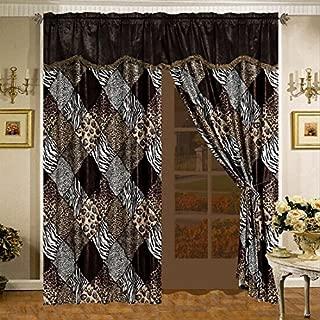 4 Piece Safari Curtain Set - Zebra, Giraffe, Leopard, Tiger Etc - Multi Animal Print Brown Beige Black White Micro Fur Window Panel Set with Attached Valance and Sheers