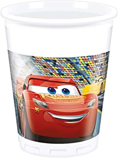 Procos 87798.0 Disney Cars 3 Plastic Party Cups Pack of 8 , 200 ml (White)