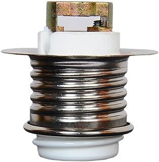 金属リング付きE17ネジ式キーレス磁器ソケット 電球e17フロスランプホルダーペンダントソケット&ランプシェードリング (白, 1個入)