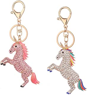 Flyme Unicorn with Rhinestone Keychain Pendant Keychain Key Ring Accessories Girl Gift Decoration