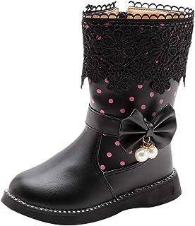 WEXCV Babyschoenen voor meisjes, herfst en winter, winddicht, warm, bow kant, antislip, zachte laarzen, prinsessenschoenen...