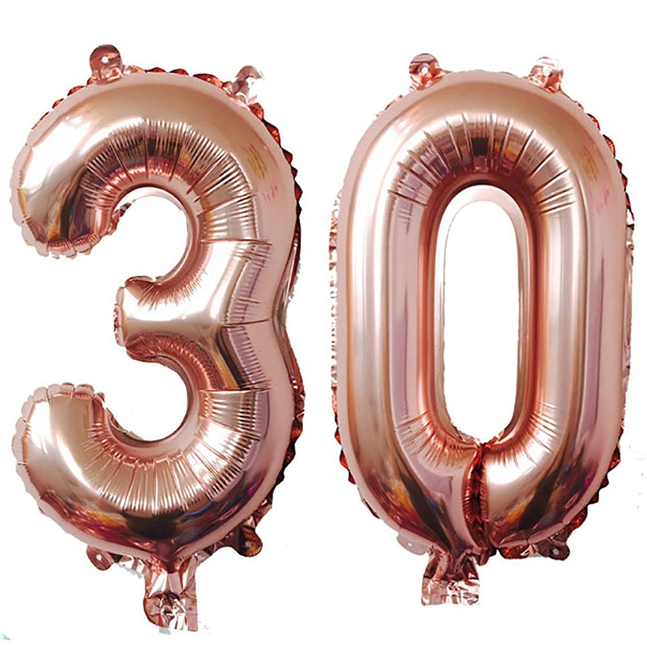 AZOWA Big 30 Balloons Jumbo Number 30 Balloons Rose Gold for 30th Birthday Party Decorations (Rose Gold, 40 in)