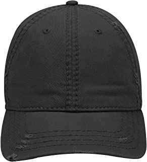 an Garment Washed Distressed Superior Cotton Twill W/Heavy Stitching Six Panel Dad Hat -Black, S/M