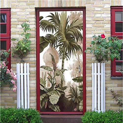 YALINA Papel Pintado de diseño Moderno Pegatina de Puerta DIY Mural Autoadhesivo decoración de Puerta de Arte para el hogar reacondicionar Cartel de PVC extraíble